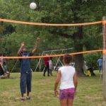 Enjoying the volleyball court